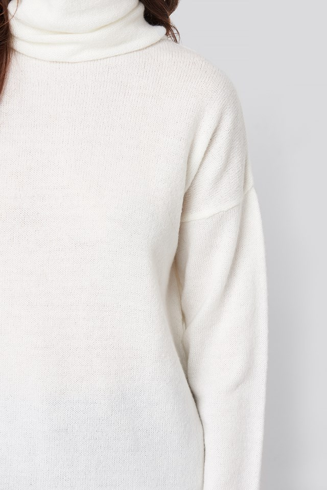 Oversized Polo Knitted Long Sweater Off White