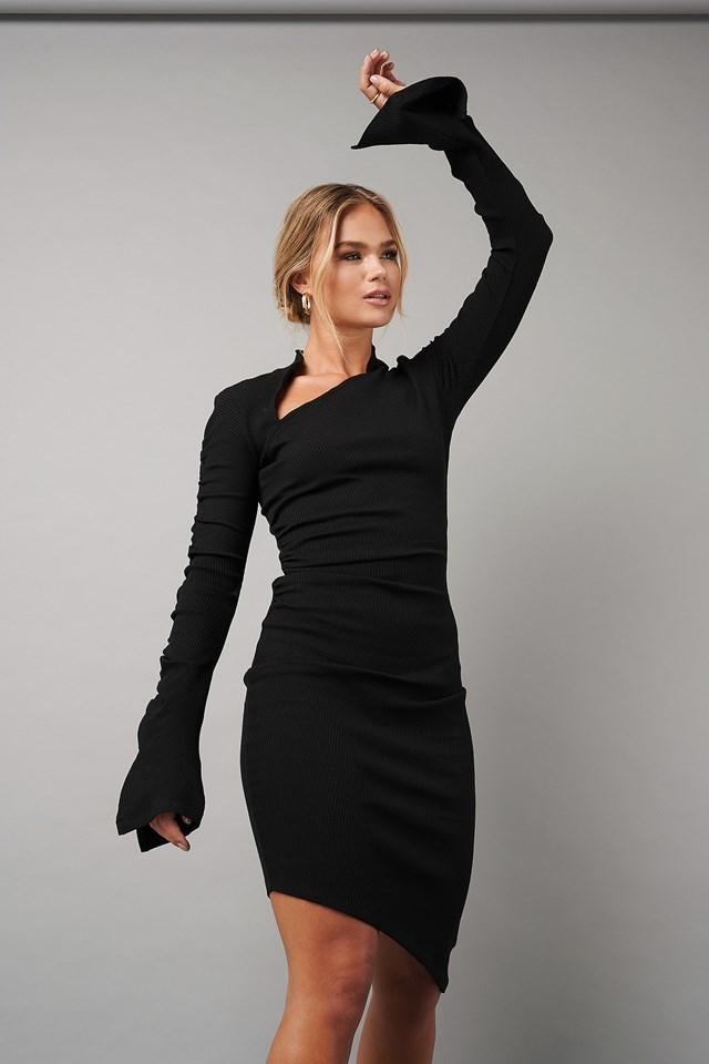 Draped Asymmetric Ribbed Dress Black