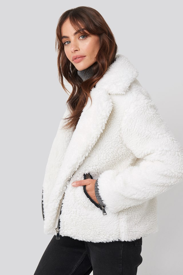 Short Faux Fur Belted Biker Jacket White
