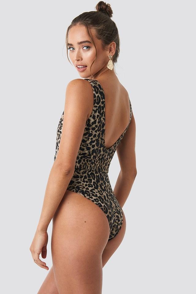 Deep V neck Belted Swimsuit Leopard