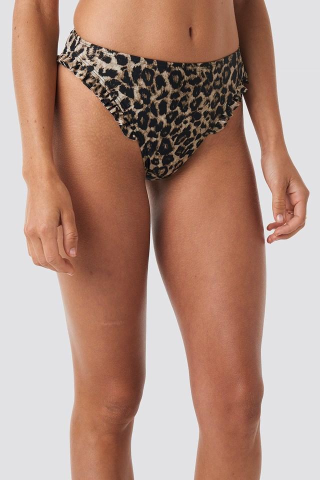 Gathered Bikini Bottom Leopard