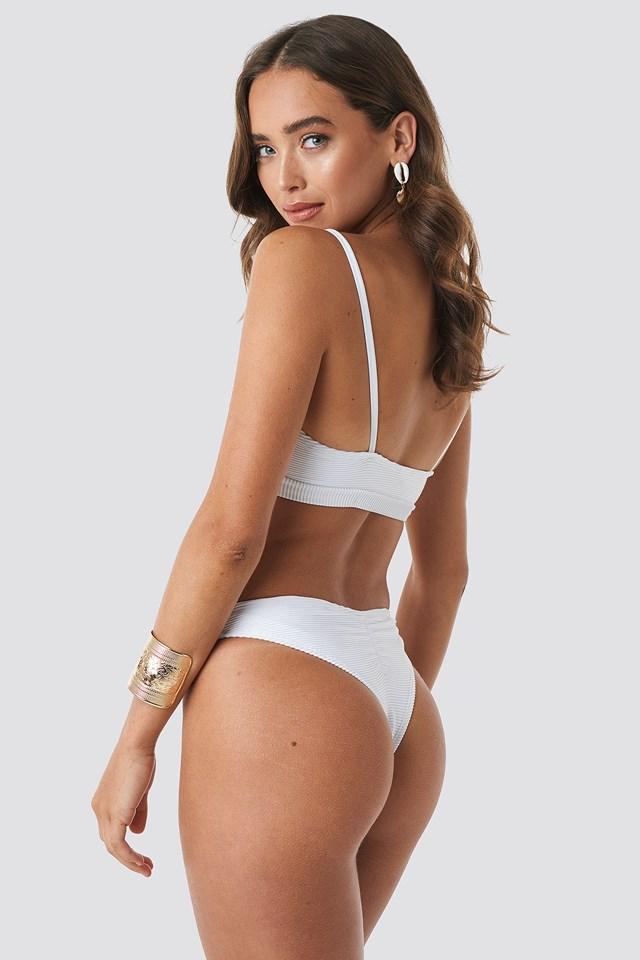 Ribbed Brazilian Bikini Bottom White