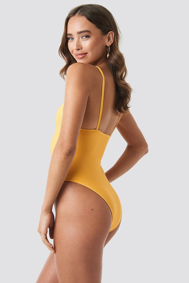 Ribbed Swimsuit Mustard
