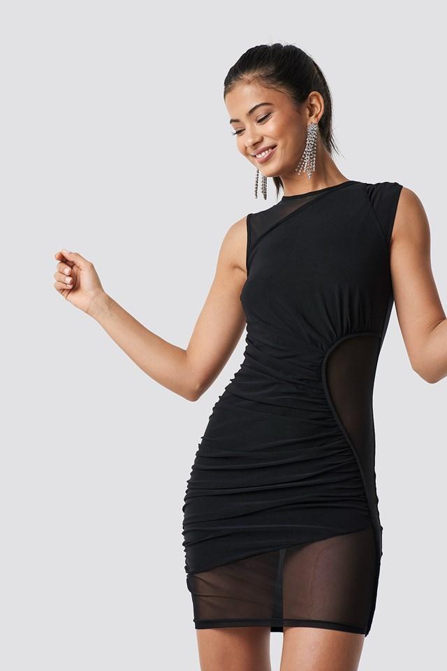 Asymmetric Detail Mesh Dress Black