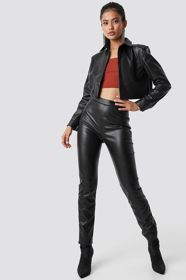 Cropped Faux Leather Shirt Black