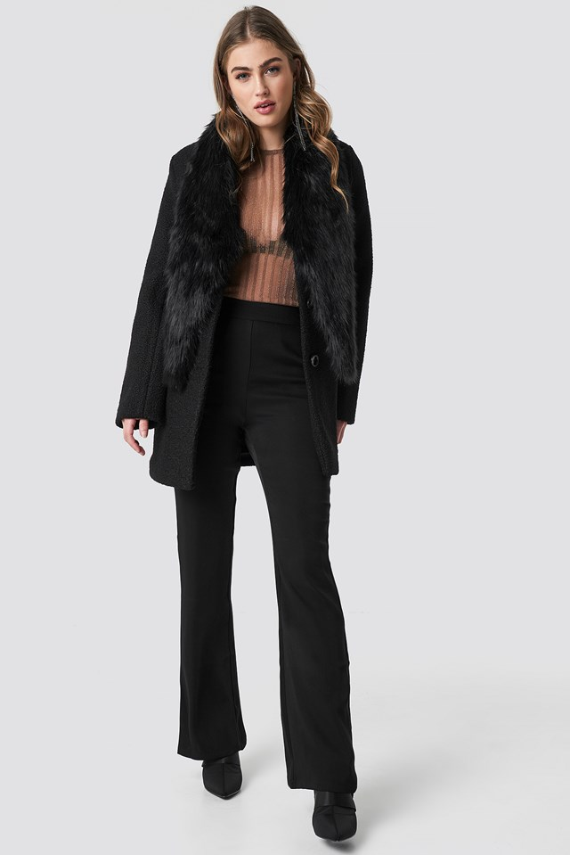 Faux Fur Collar Coat Black