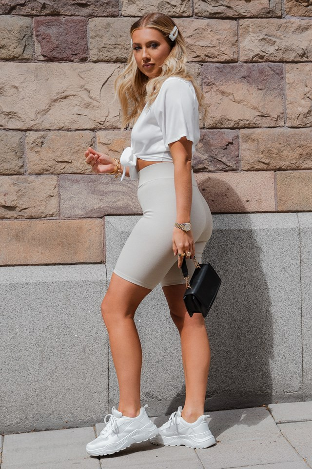 Front Tied Cropped Top White