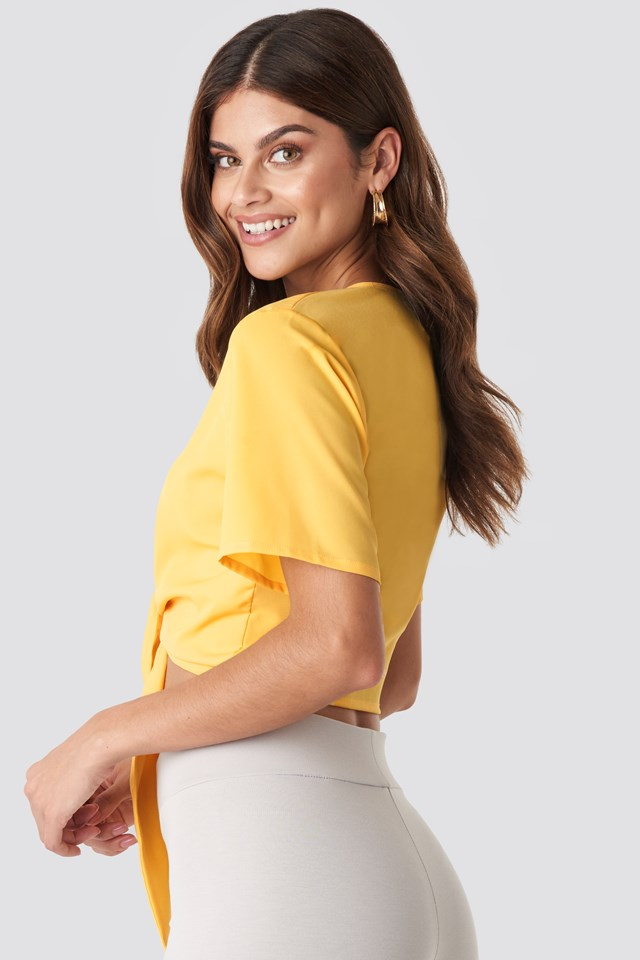 Front Tied Cropped Top Yellow