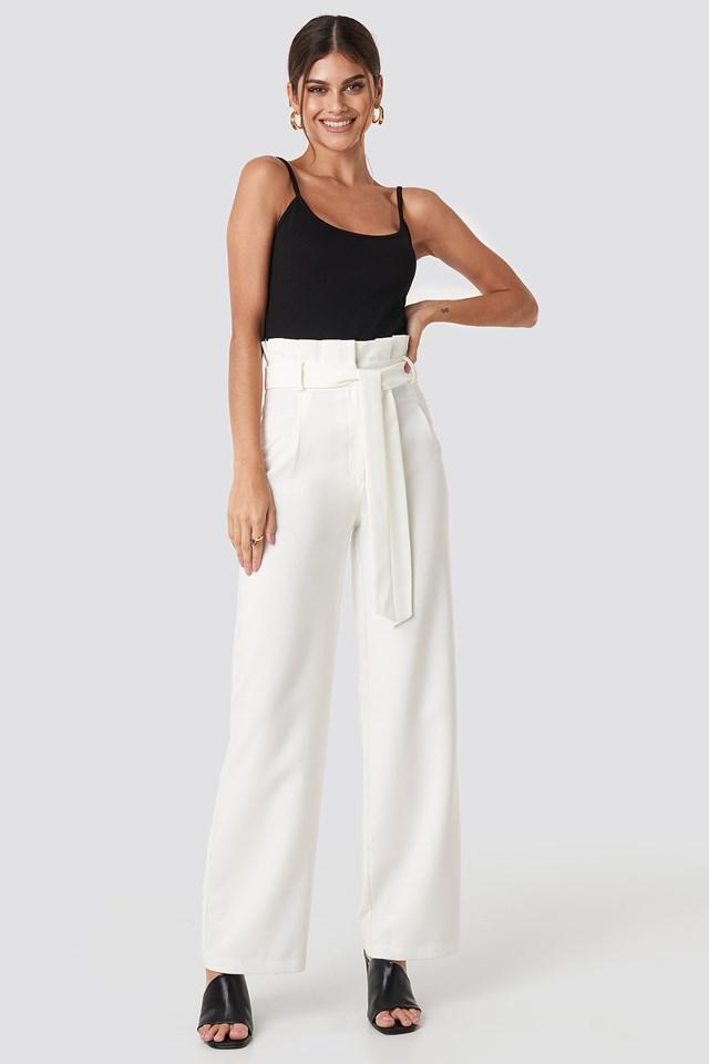 Highwaisted Tied Belt Pants White