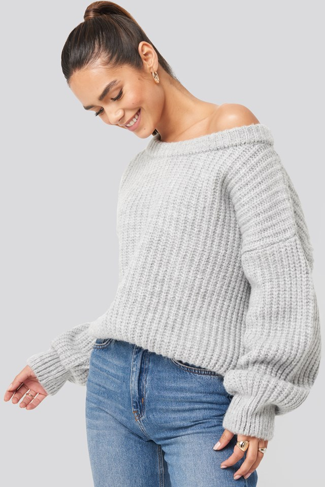 Chunky Knitted Off Shoulder Sweater Grey