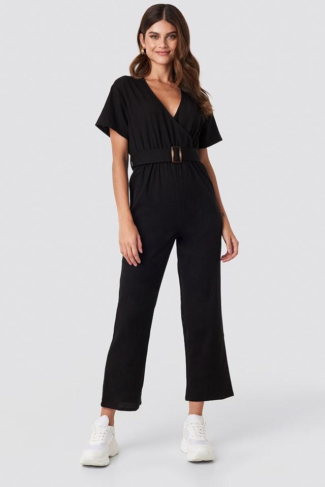 Overlapped Belted Linen Look Jumpsuit Black