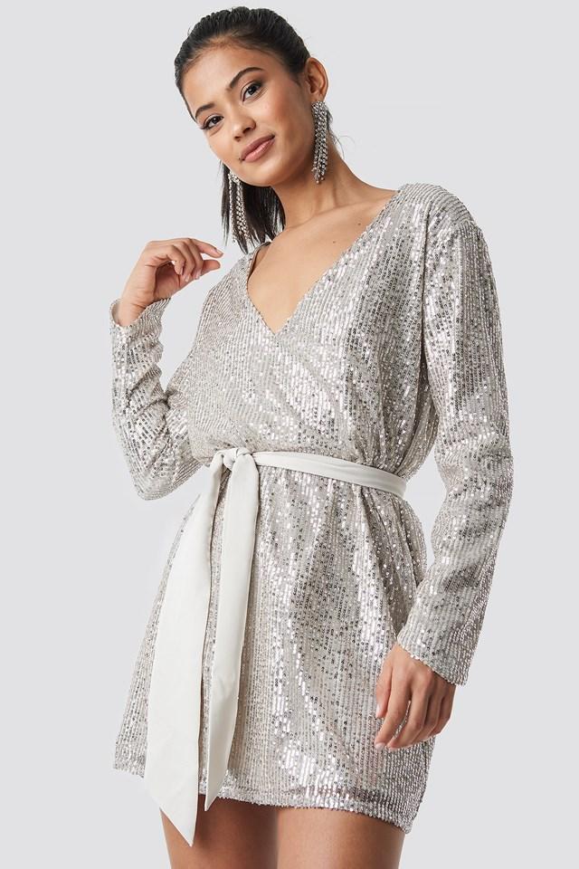 Oversized Tied Waist Sequin Dress Silver