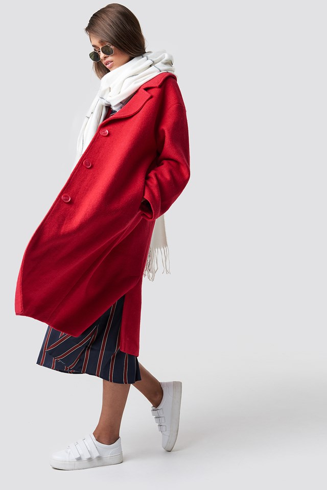 Oversized Wool Blend Coat Red