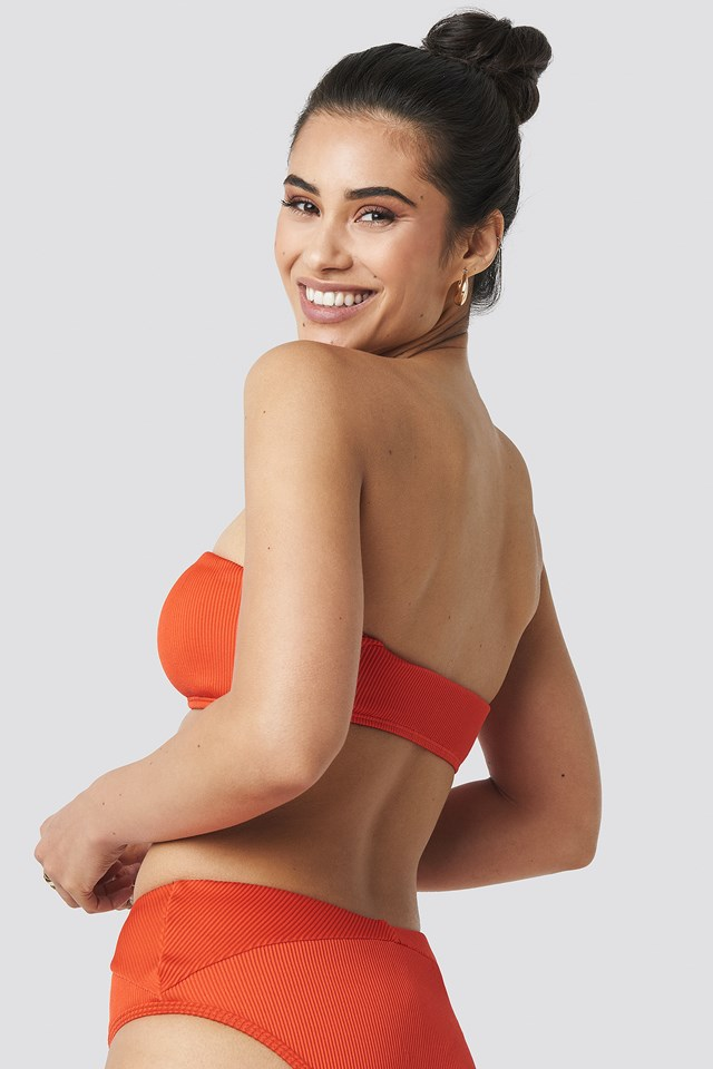 Ribbed Bandeau Bikini Top Red