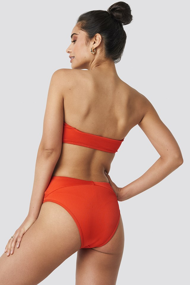 Ribbed Folded Bikini Pantie Red