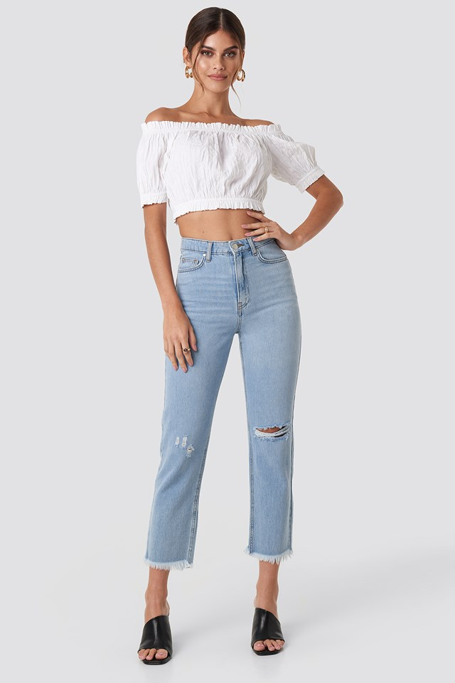 Ripped Straight Fit Denims Light Blue