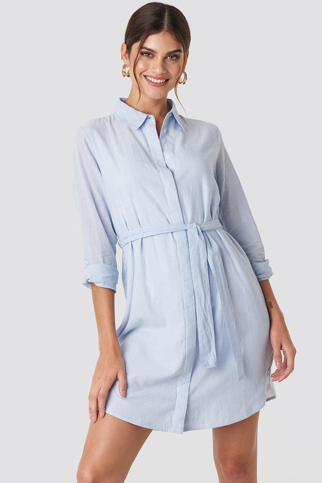 Tied Waist Cotton Shirt Dress Blue/White Stripe