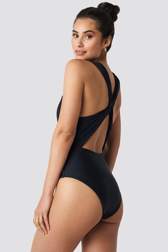 Wide Straps Cross Back Swimsuit Black