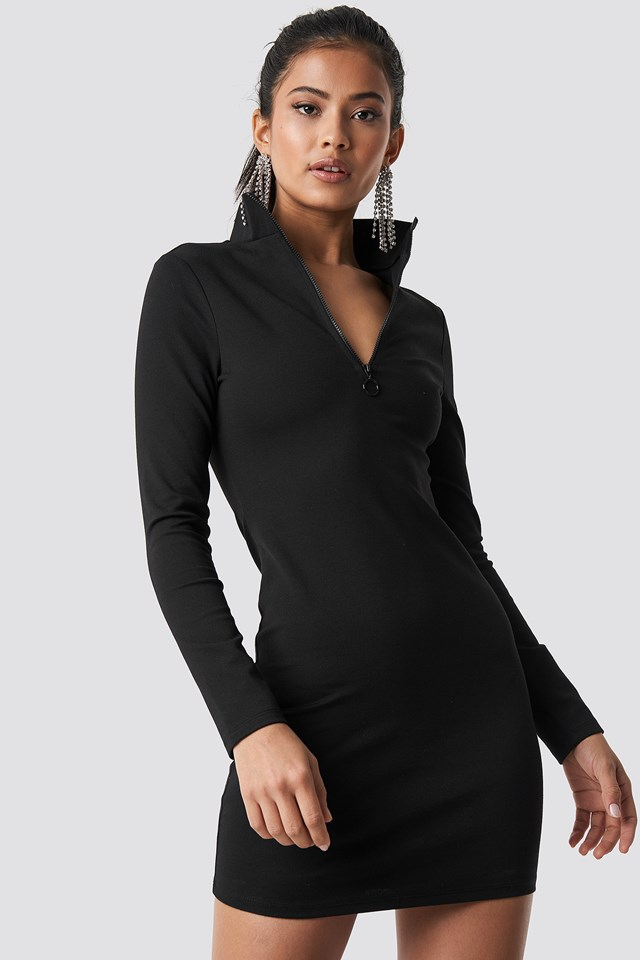 High Neck Zip Dress Black
