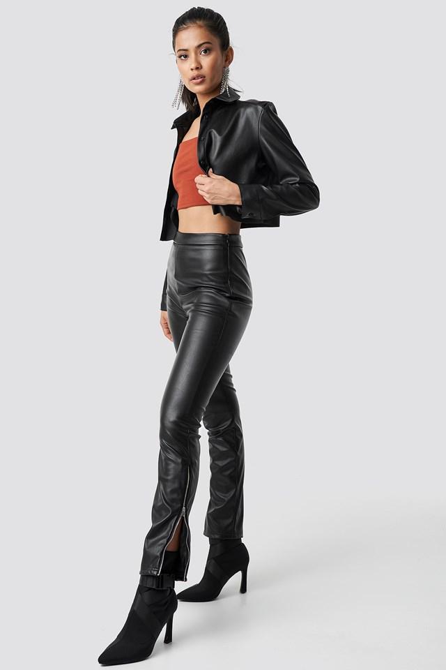 Zip Detailed Faux Leather Pants Black