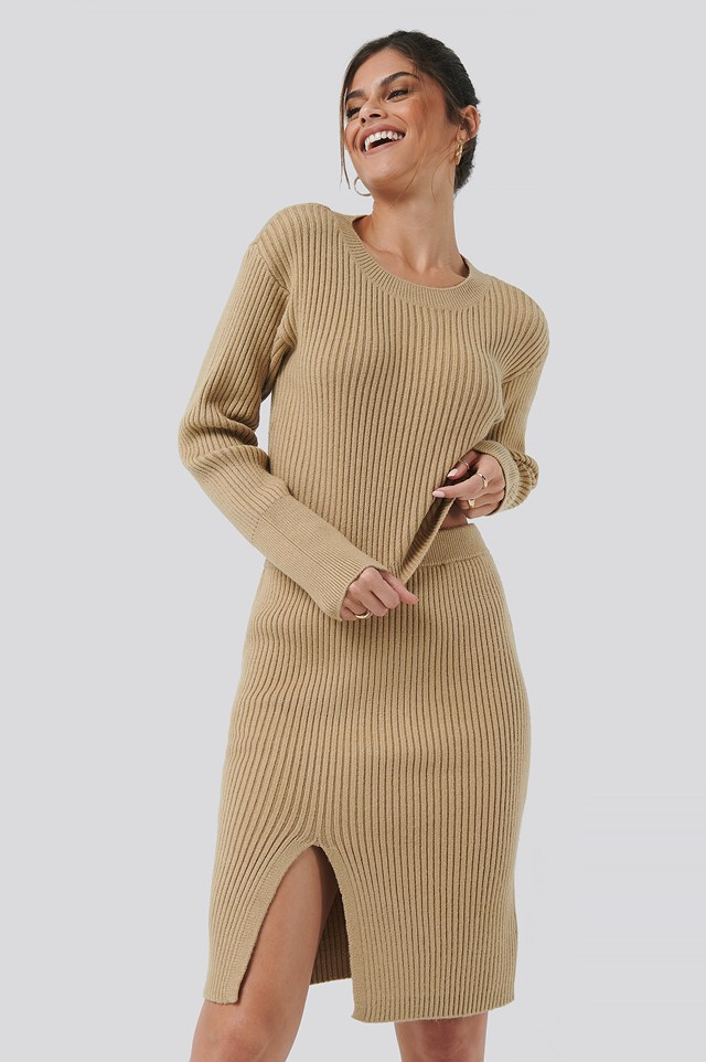 Drop Shoulder Knit Beige