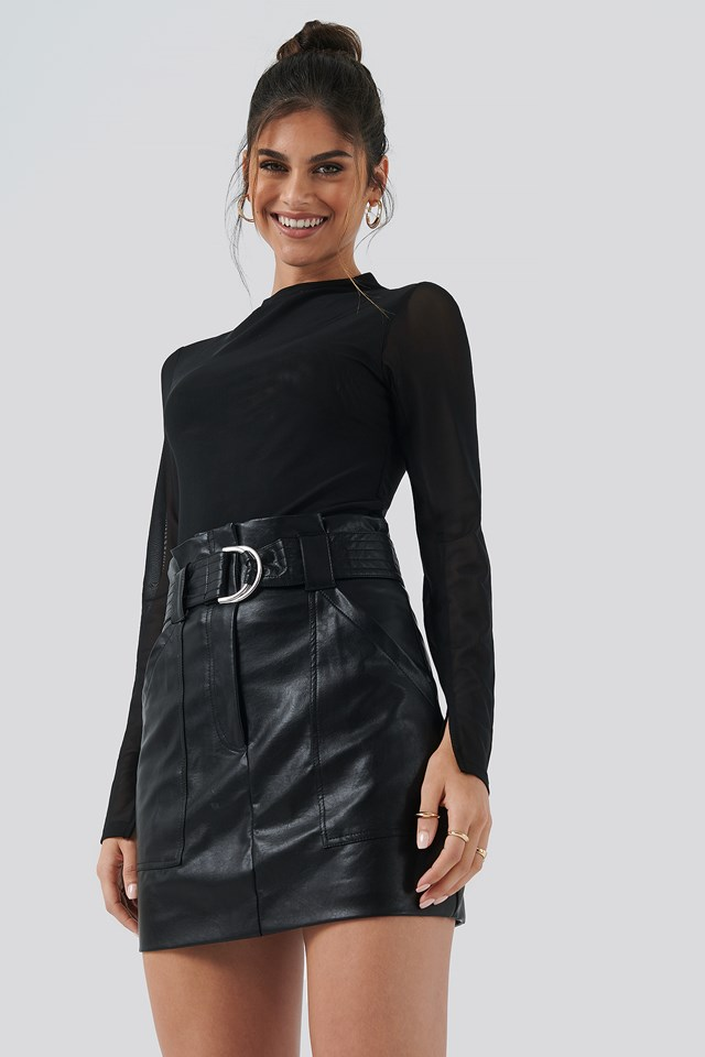 PU Mini Skirt Black