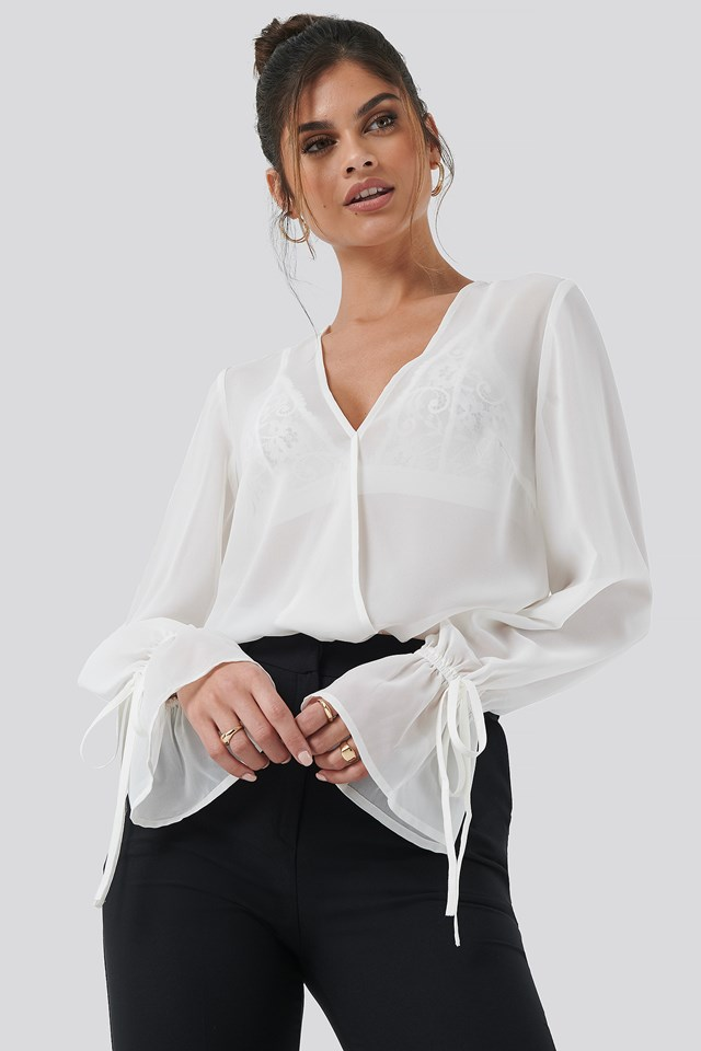 Sheer V-Neck Top Off White