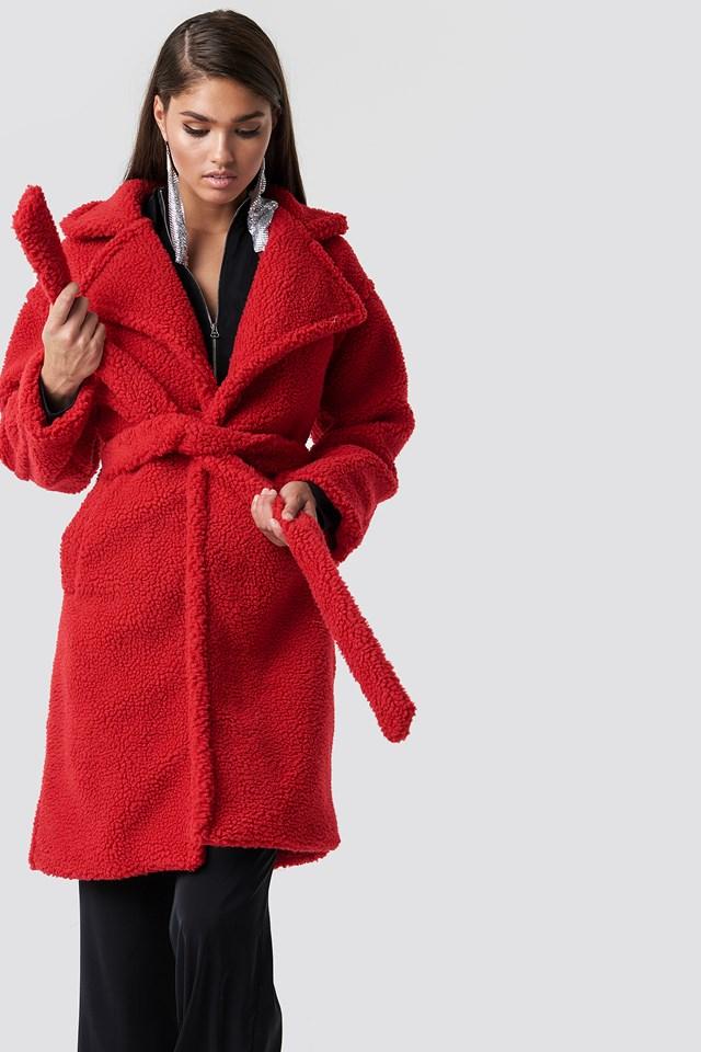 Midi Teddy Coat Red