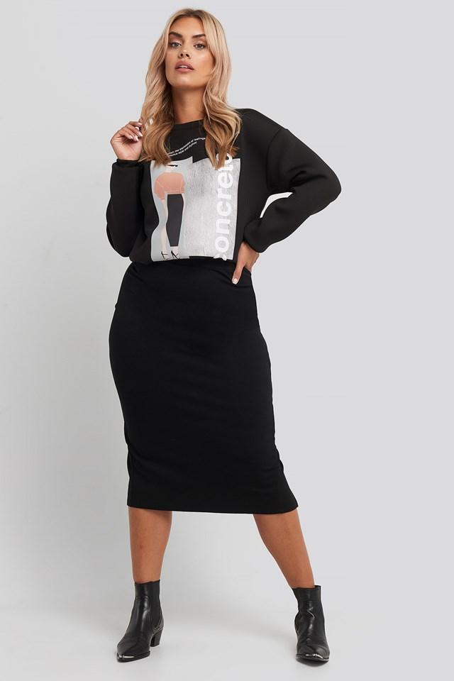 High Waist Sharp Cut Midi Skirt Black