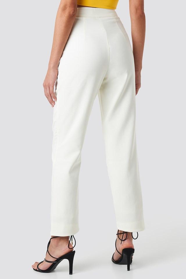 Asymmetrical Hem Suit Pants Cream