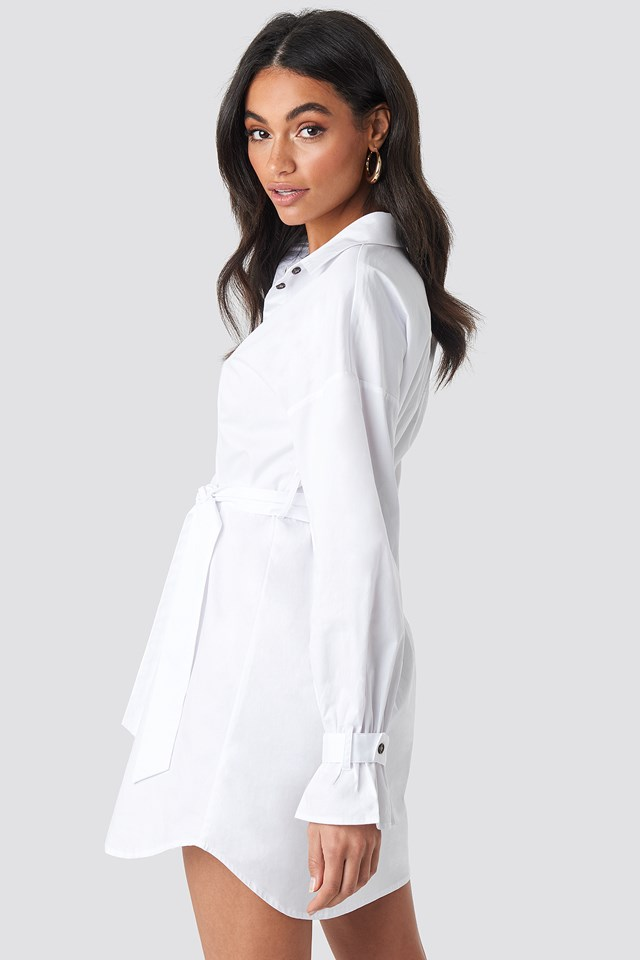 Belted Shirt Dress White