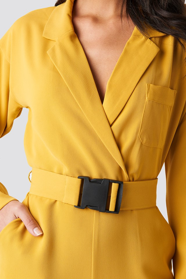 Belted Wrap Front Jumpsuit Yellow
