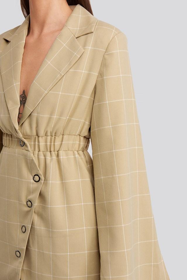 Checked Asymmetric Dress Beige