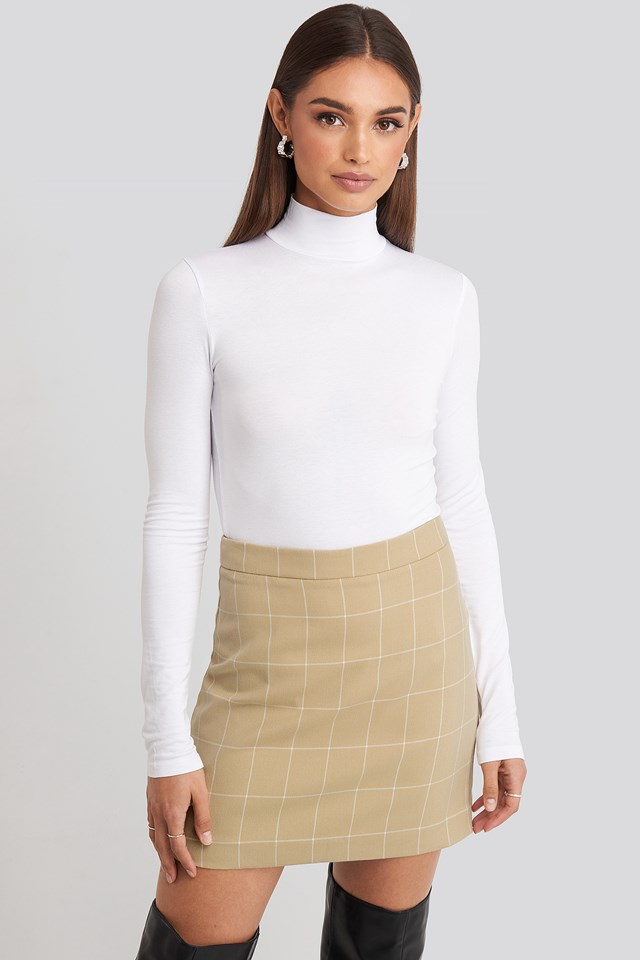 Checked Mini Skirt Beige
