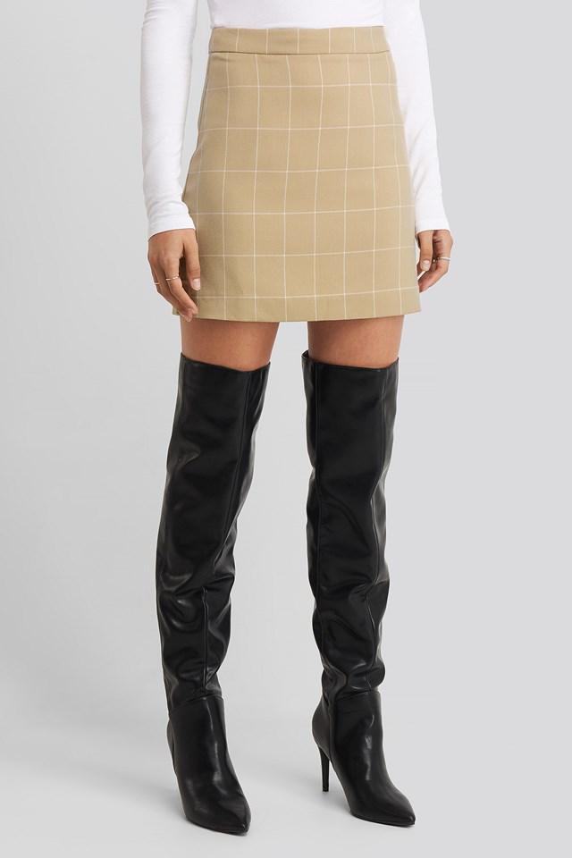 Checked Mini Skirt Beige