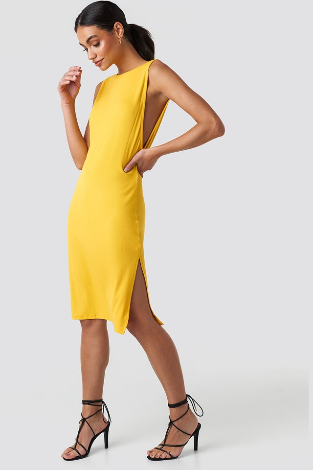 Deep V Back Relaxed Dress Yellow