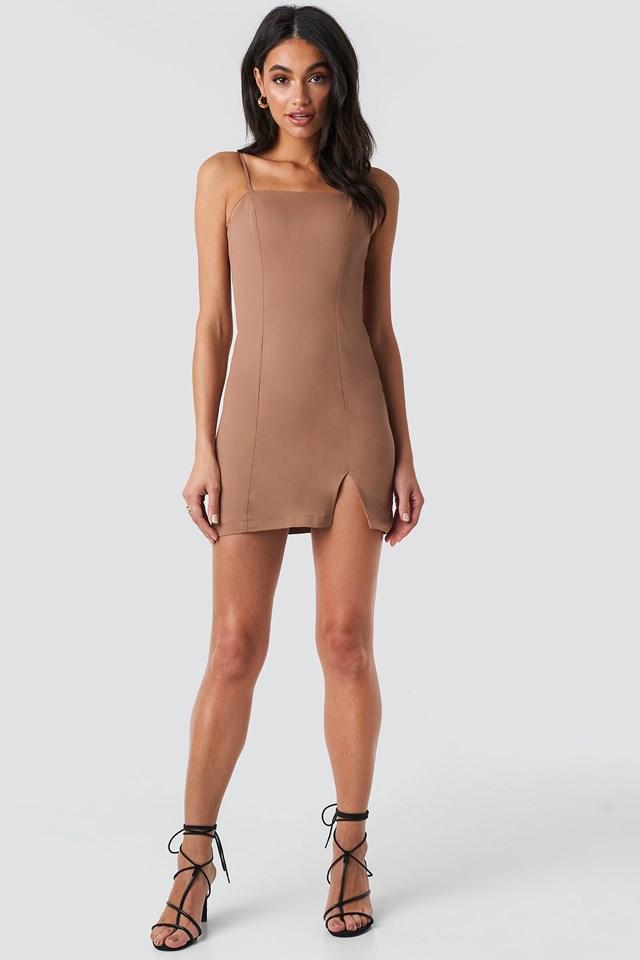 Fitted Mini Dress Dark Beige