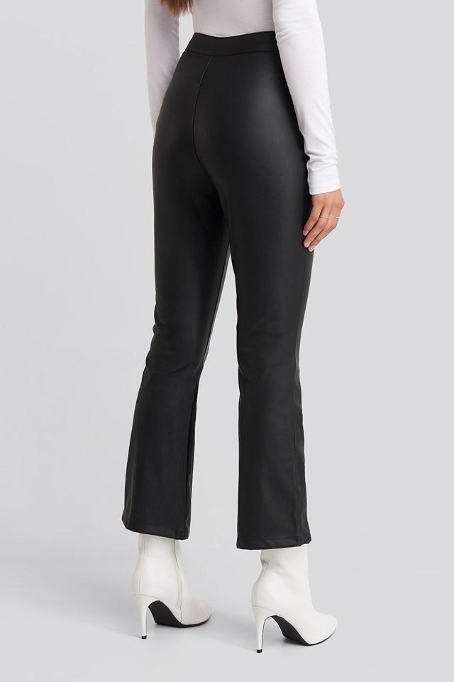 Flared Pu Pants Black