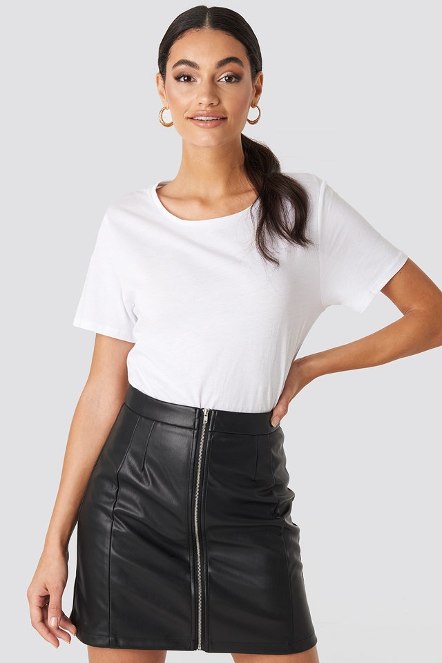 High Waist Zipped Skirt Black