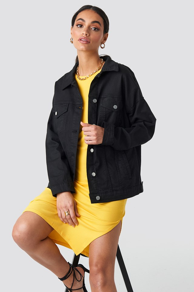 Oversized Denim Jacket Washed Black