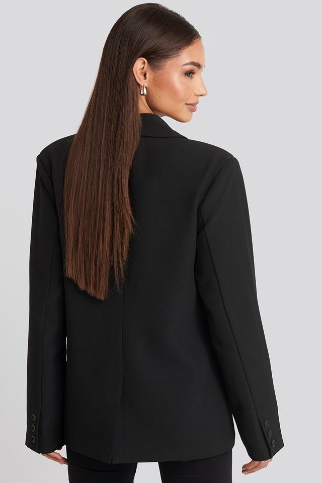 Padded Shoulder Blazer Black