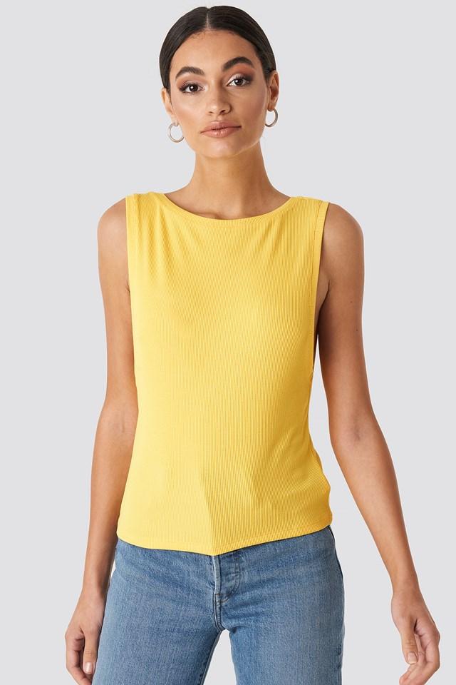 Ribbed Deep V Back top Yellow