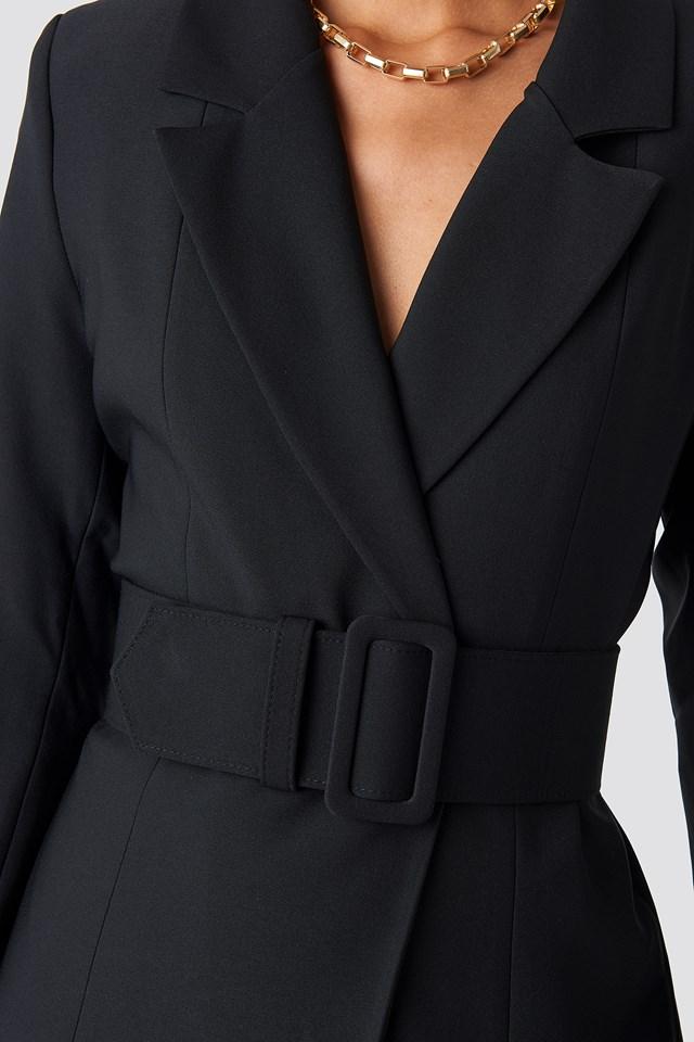 Wide Belted Blazer Dress Black
