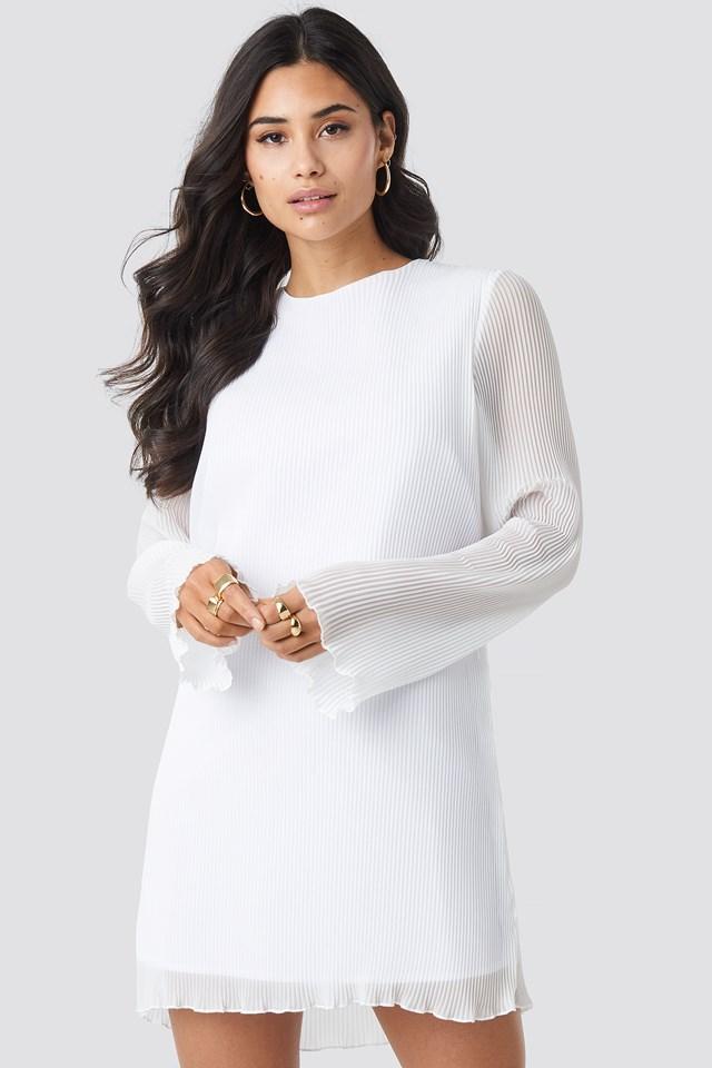 Pleated LS Mini Dress White