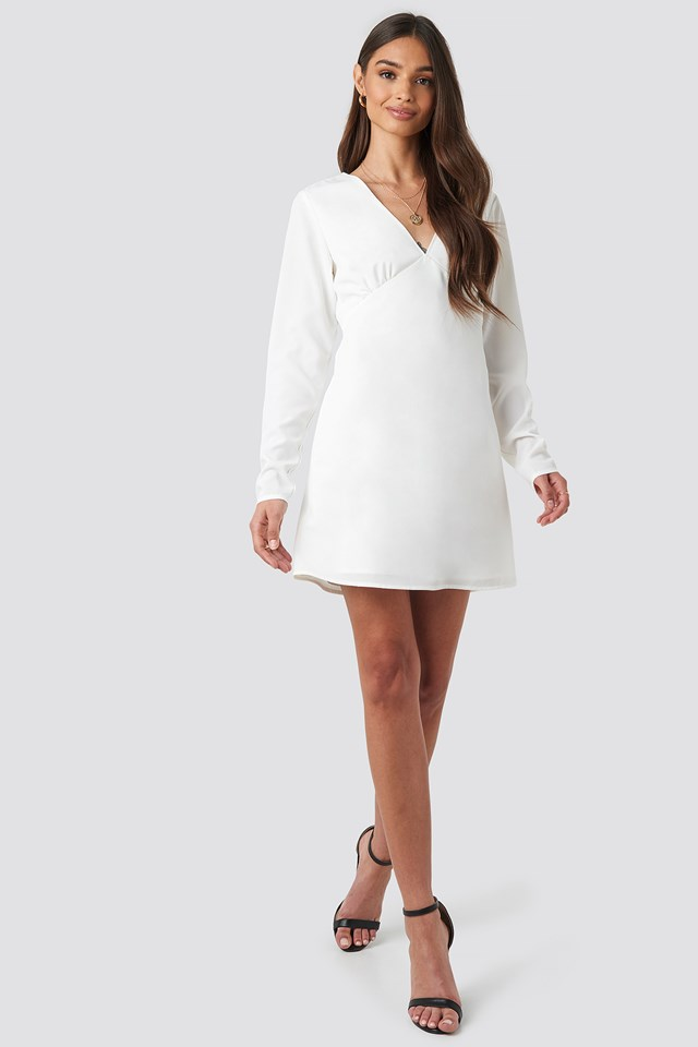 V-Neck Mini Dress White