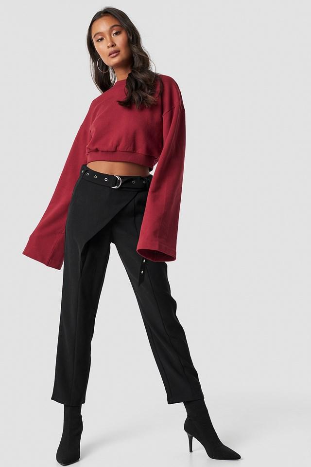 Front Overlap Pants Black