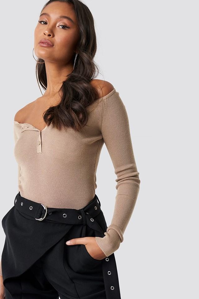 Off Shoulder Button Up Sweater Beige