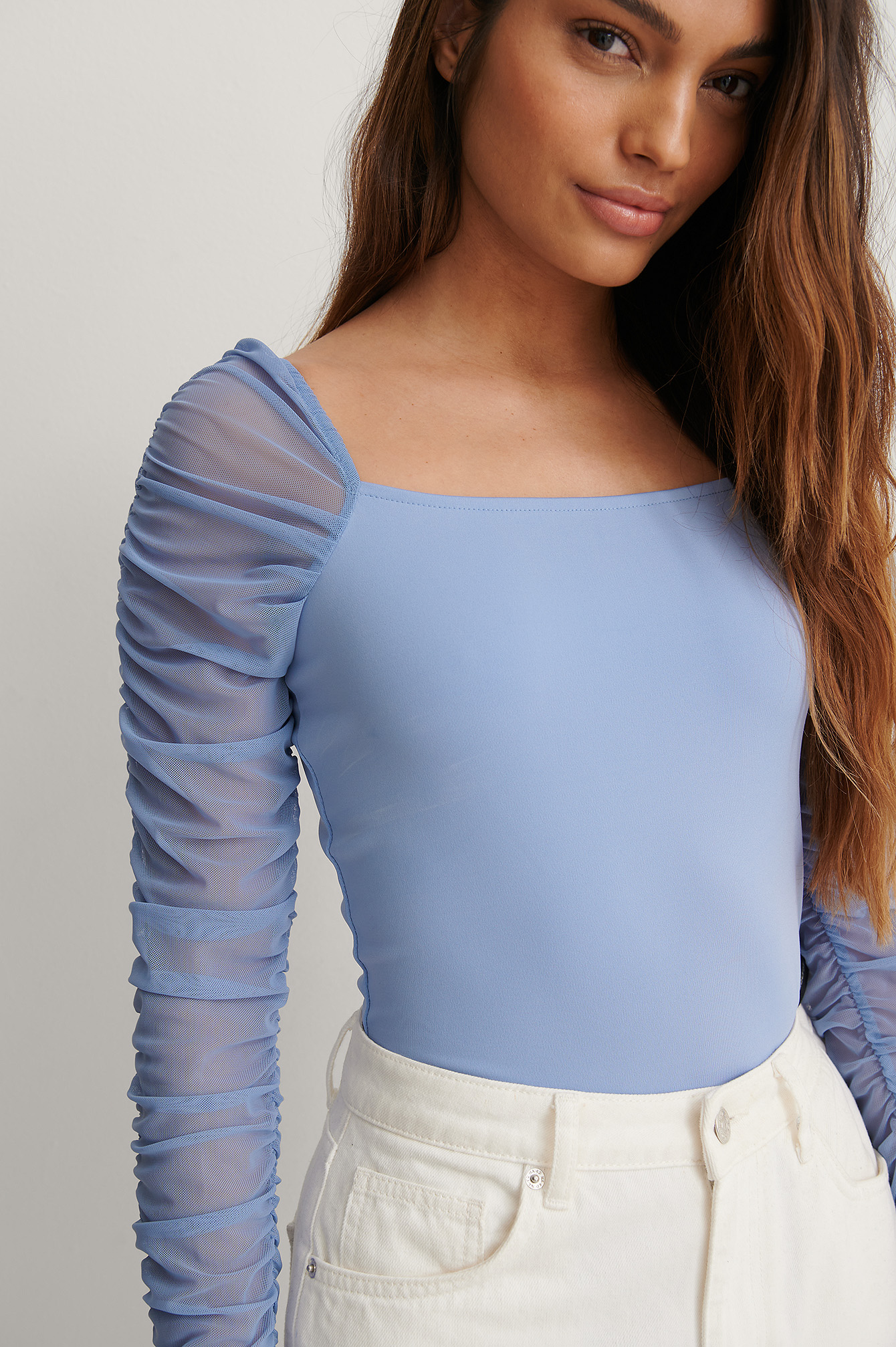 Blue Puffy Sleeve Mesh Body