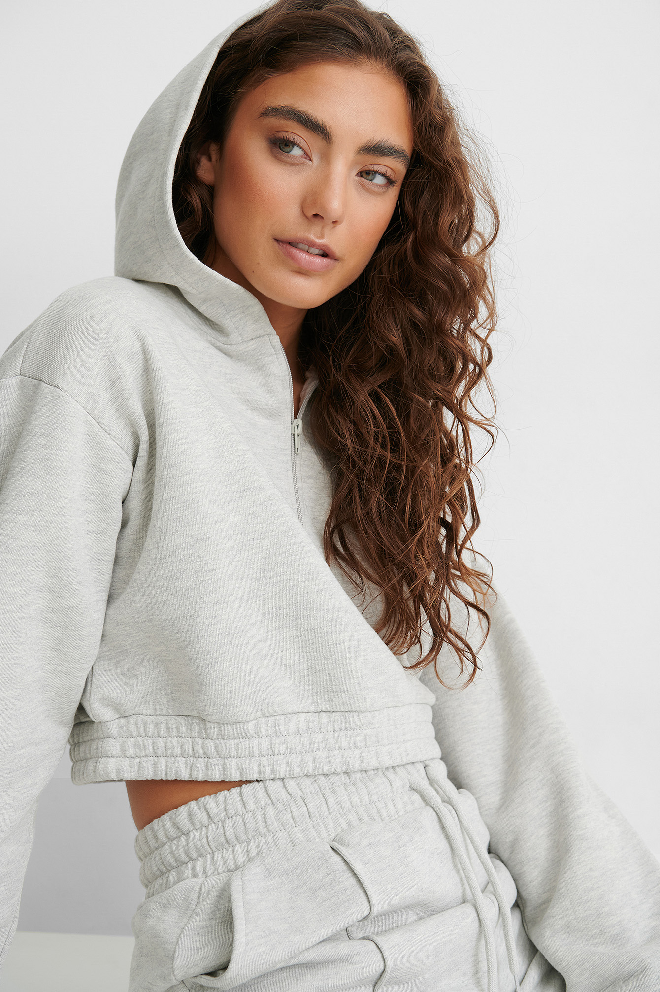 Grey Zip Detail Cropped Hoodie