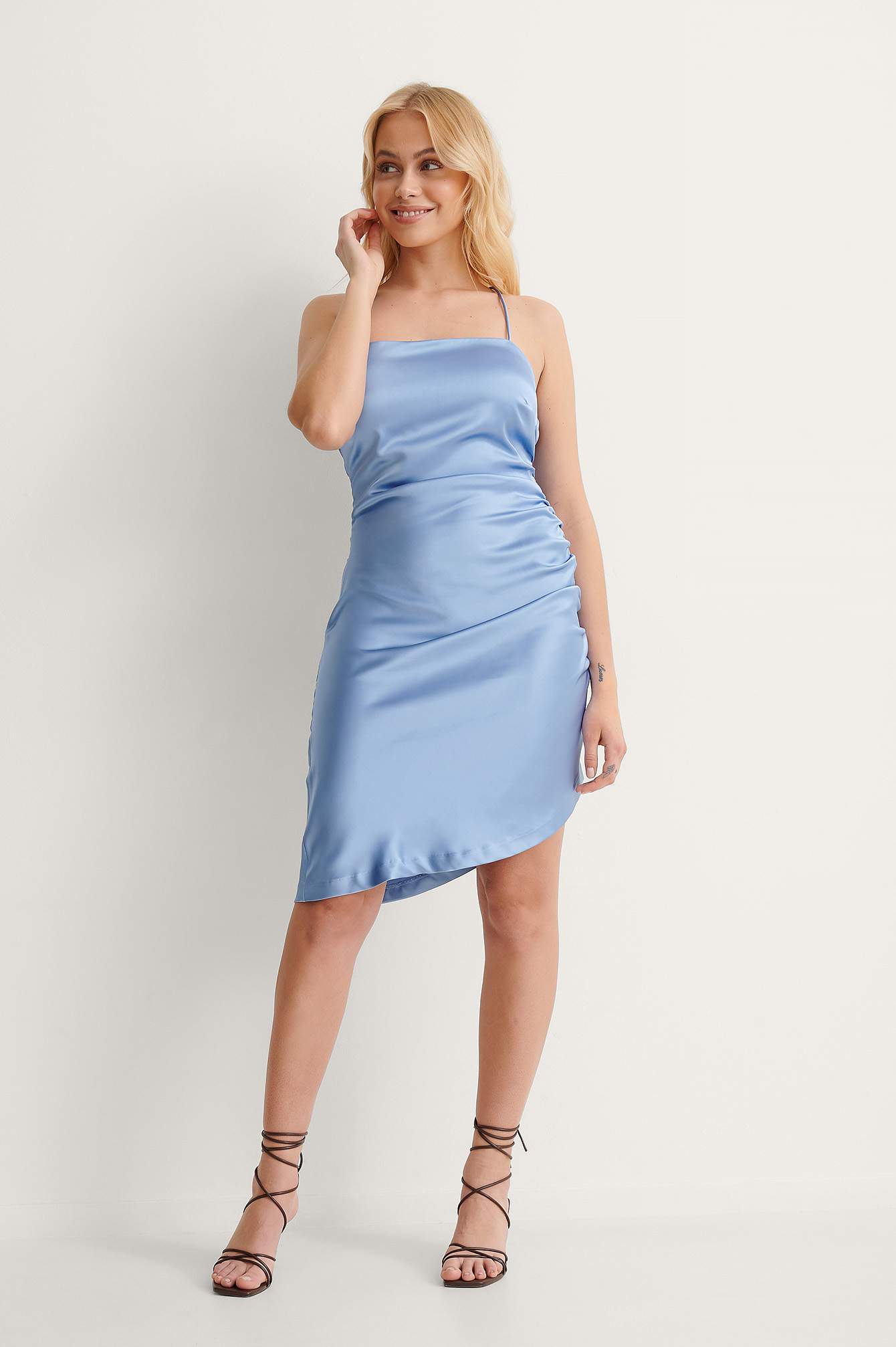 Blue Recycled Draped Tie Back Dress